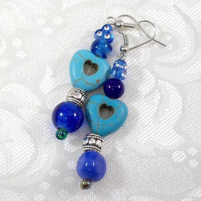 Beaded Dangle Earrings in blue with heart beads