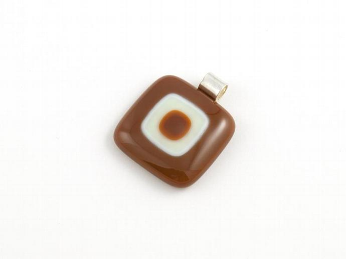 Fused Glass Pendant in Browns and Ivory