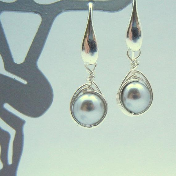 Swarovski Earrings, Light Gray Pearls & Sterling Silver Wrapped Dangle Earrings,