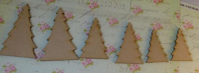 Wood mini christmas trees