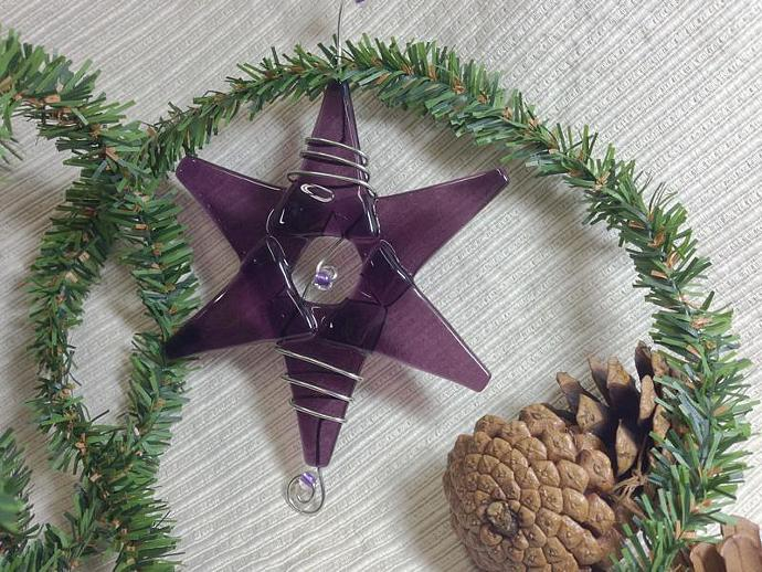 Teacher Gift / Handmade Fused Glass Star / Medium Purple Ornament / Suncatcher /