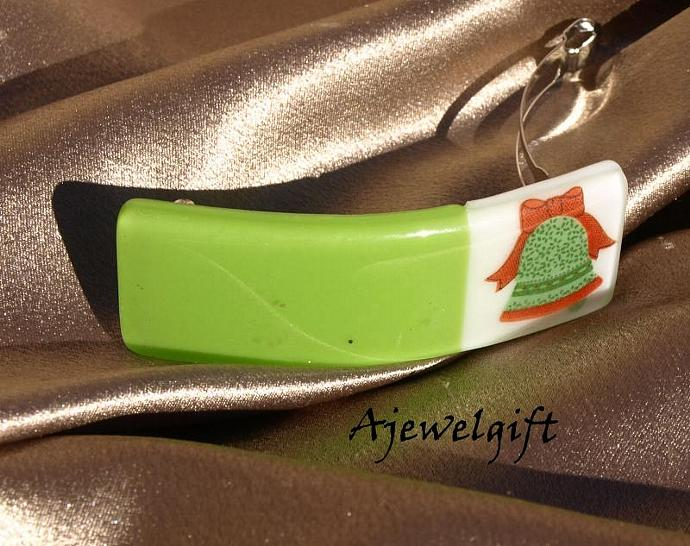 Holiday Bell Fused Glass Barrette 133056