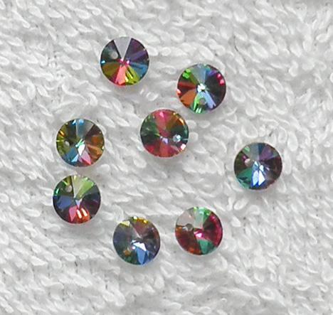 8 old Swarovski Article 6200 6 mm. Vitrail Medium crystal beads SW58