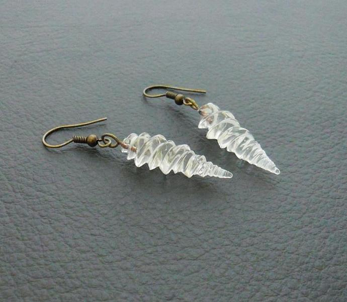 Alicorn earrings: handmade, clear glass unicorn horns on antiqued-brass coloured