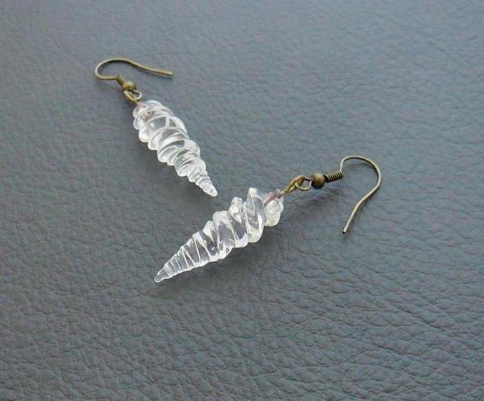 Alicorn earrings: handmade, clear glass unicorn horns on antiqued-brass coloured