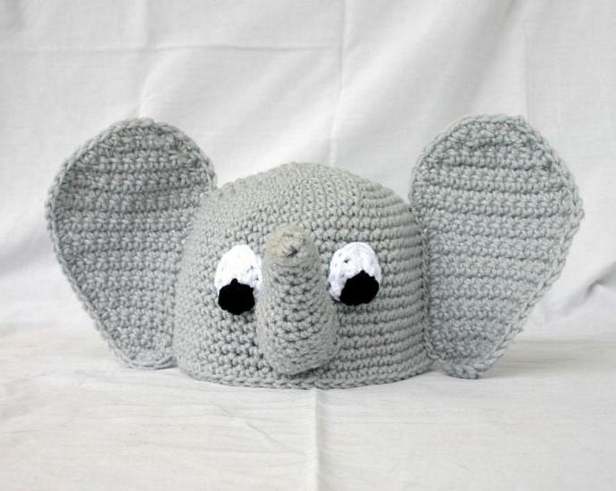 Baby elephant beanie hat PDF Crochet Pattern 6-36 months toddler african zoo