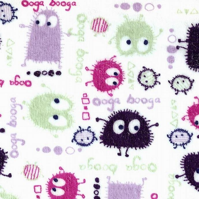 Purple Ooga Booga on White Velour Stretch Knit Fabric, by the Yard