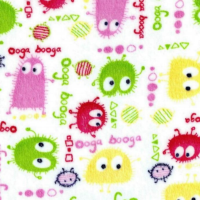 Pastel Ooga Booga on White Velour Stretch Knit Fabric, by the Yard