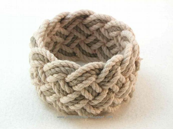 walnut and olive rope bracelet nautical knot turks head bracelet 3149