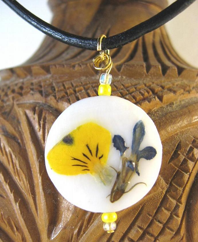 Pendant Necklace, Real Pressed Flowers, Golden Viola, Dark Blue Lobelia, on White Shell, Black Leather Cord