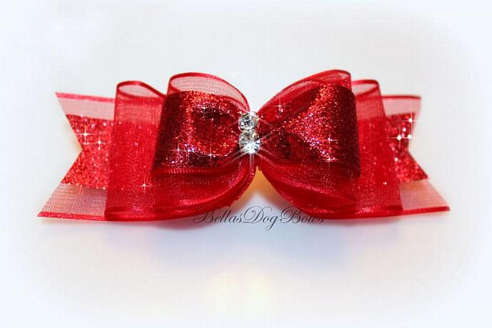 Valentines Day Dog Collar Bow. Red Metallic Glitter on Red Sheer Bow with Two