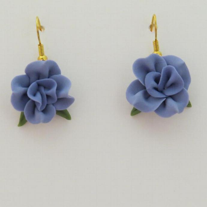 Blue Cold Porcelain Dangle Earrings