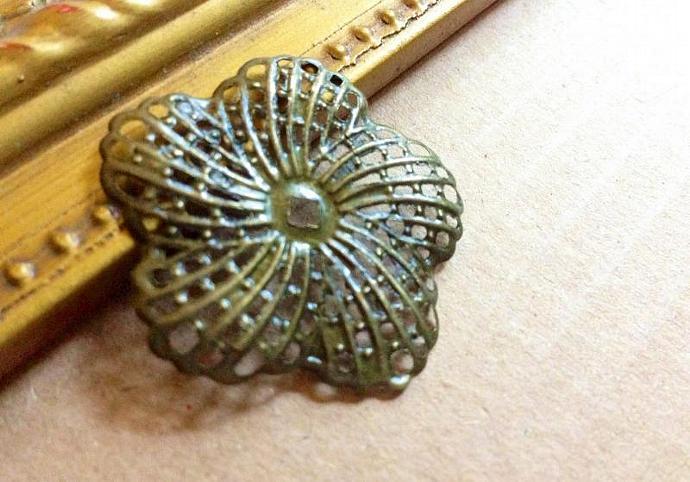 Bronze FLOWER Filigree Embellishment Findings - Quantity 6-  #F-11