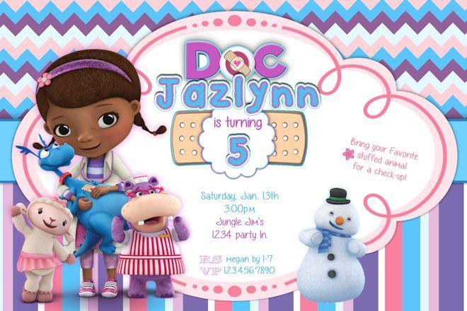 Doc Mcstuffins Birthday Invitations Doctor ekwebdesigns