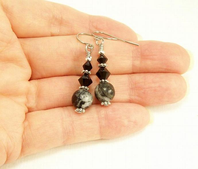 Jungle Jasper Gemstone Earrings, Black Crystal Beaded Dangle Earrings, Gemstone