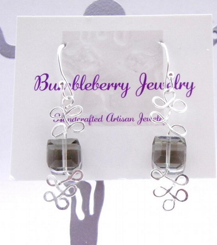 Swarovski Earrings, Black Diamond, Crystal Cube & Sterling Silver Dangle