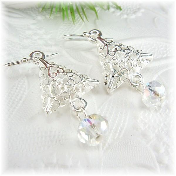 Silver Christmas Tree Earrings