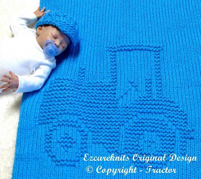 TRACTOR Blanket Knitting Pattern - PDF