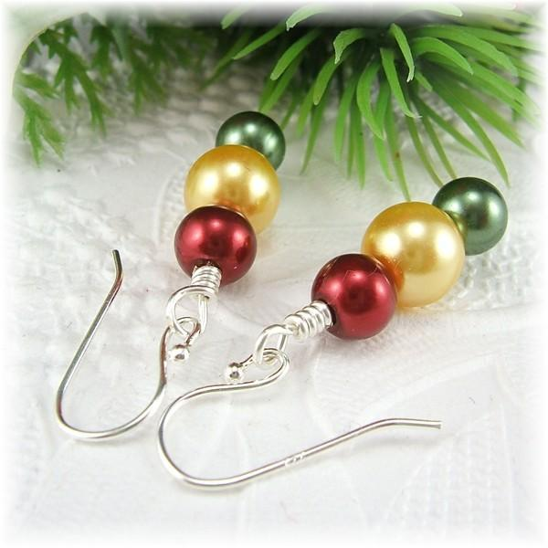 Red, Green and Yellow Gold Christmas Earrings