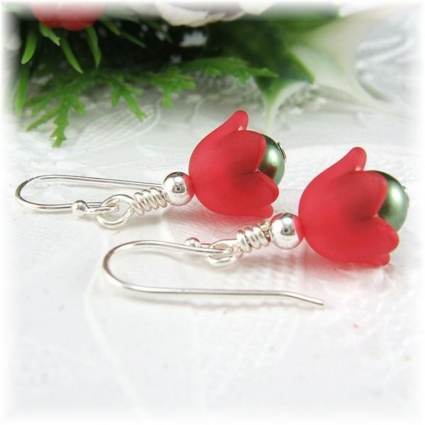 Petite Red Flower Christmas Earrings