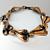 Vintage Copper Tone Stylized Trumpet Flower  Flute Swirl Link Bracelet