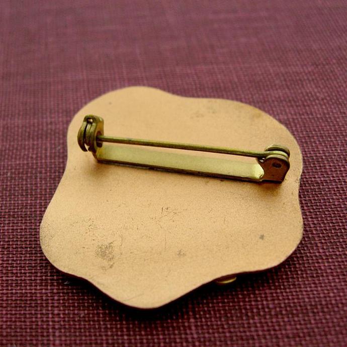 Vintage Copper Red Gold Enamel Maple Leaf Pin Brooch Canada