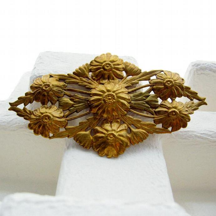 Huge Stamped Raw Brass Victorian Revival Filigree Floral Brooch 80s