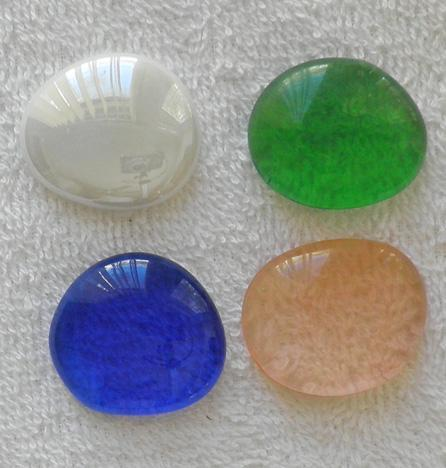 4 35 mm. assorted colors thick glass cabochons for wire wrapping S71