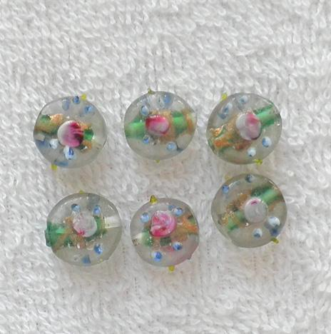 12 mm. old green gold and pink flower glass lamp work coin bead S96