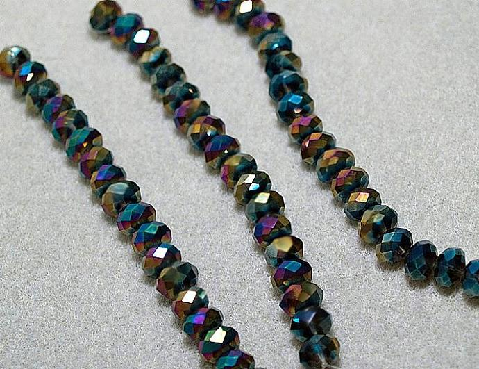 Metallic Peacock- faceted crystal rondelles