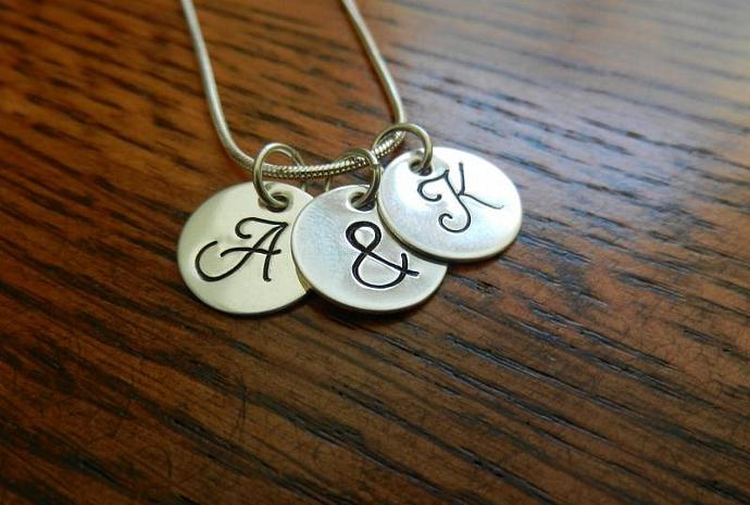 "Monogram Pendants - Set of 3 Hand Stamped - 1/2"" Sterling Silver"