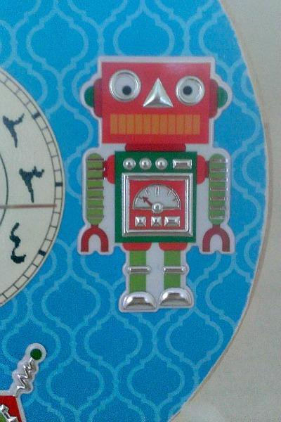 Gliding the Dog! Arabic robot wood wall clock baby nursery kids bedroom