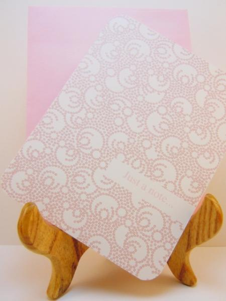 Set of 8 Pink Flat Notecards with Pink dotted swirls