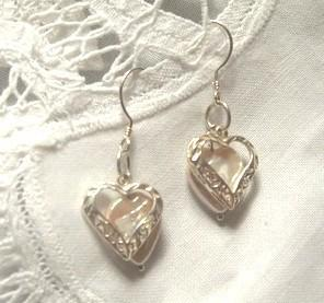 Two Hearts Beat as One Sterling Silver and Pearl Earrings by Bumbleberry Jewelry