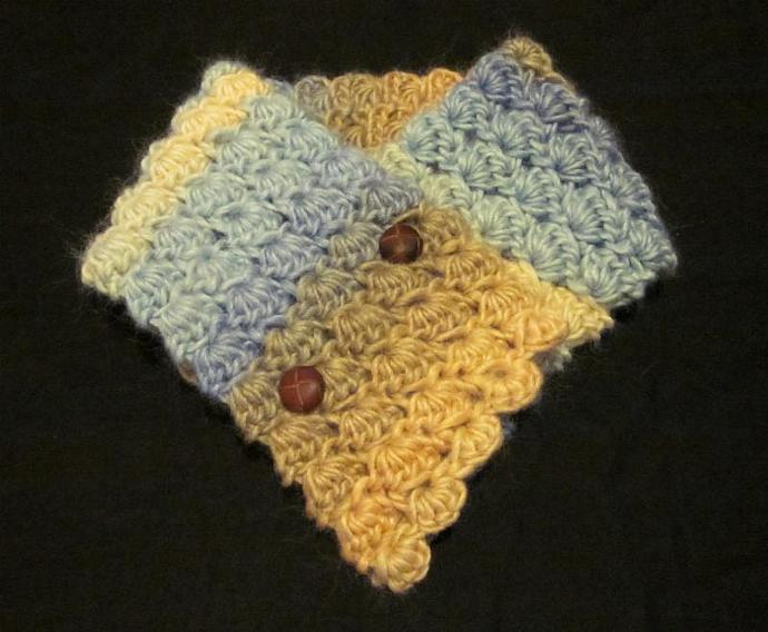 Blue and Tan Soy Wool Broomstick Lace Neck Warmer