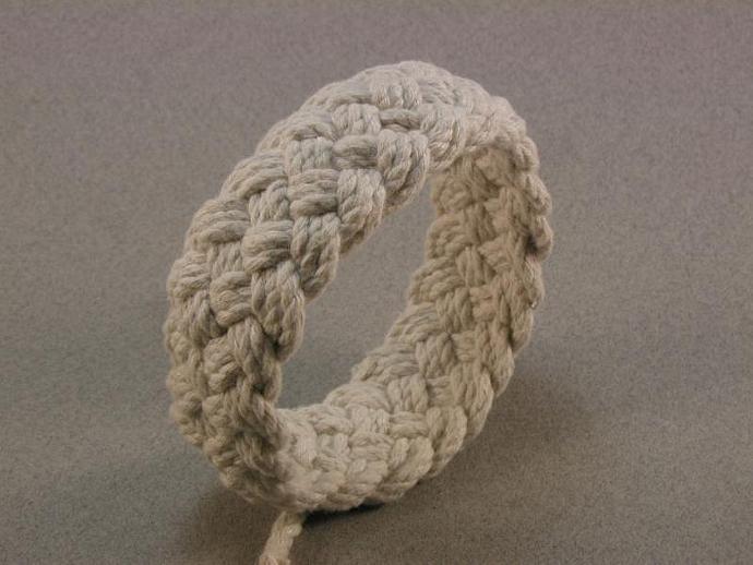 ecru rope bracelet  turks head knot bracelet nautical knot bracelet beach