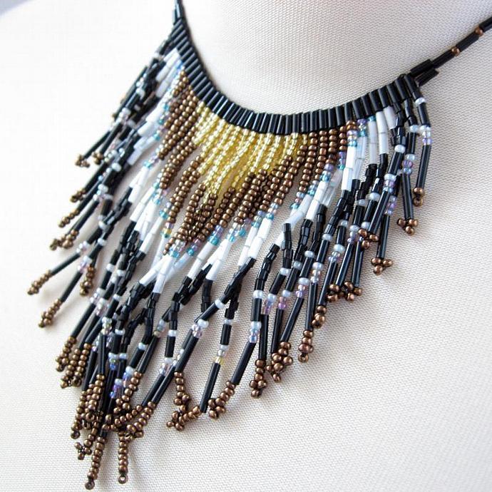 Vintage Beaded Art Deco Fringe Necklace Glass Seed Bugle Beads Copper Black Gold