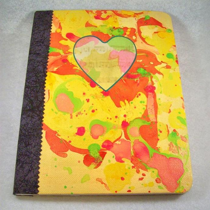 Journal - Composition Book, Sunny Heartsong - 9.75 x 7.5 inches, 100 sheets,