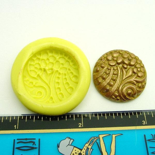 Vintage Floral Pattern Silicone Mold for Buttons or Cabochons
