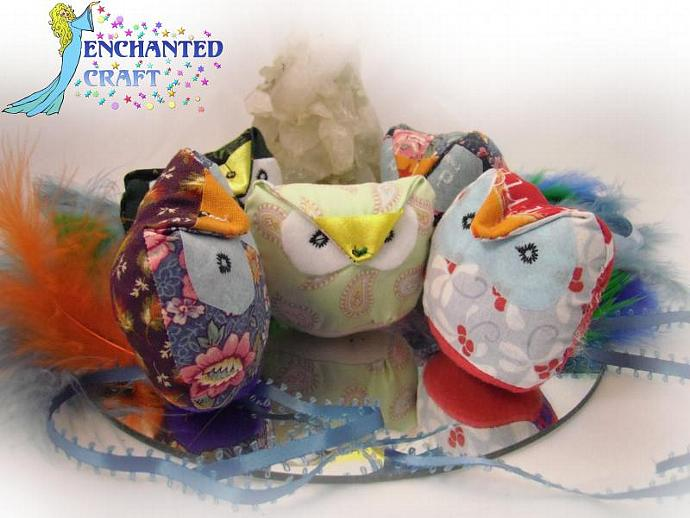 Miss Priss'es Fabulous Fabric OWL SHAPED CAT TOYS- filled with organic catnip