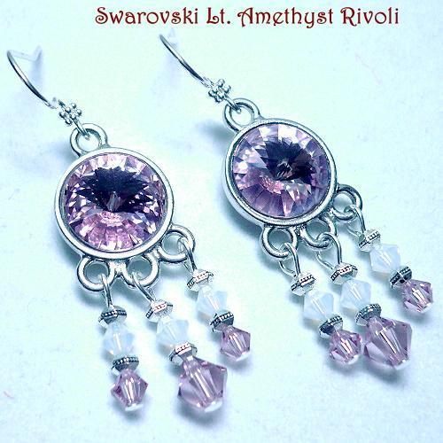 Swarovski Chandelier  .925 Earrings in Light Amethyst
