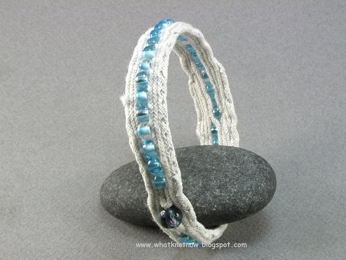 white cotton beaded soft bangle bracelet fabric bracelet beaded bracelet fiber
