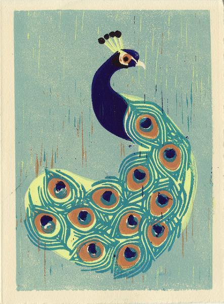 INDIAN PEACOCK Original Linocut 5 x 7 Wood Block Illustration Art Print