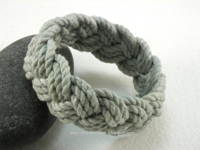 fog grey cotton sailor knot rope bracelet beach bracelet hand dyed cotton