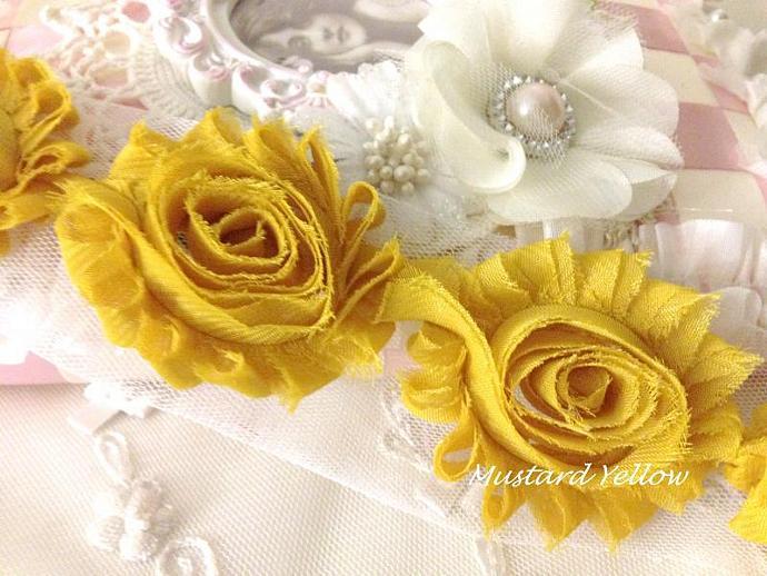 1 yd MUSTARD YELLOW Shabby Chiffon Frayed Rose Flower Trim for DIY Headbands,