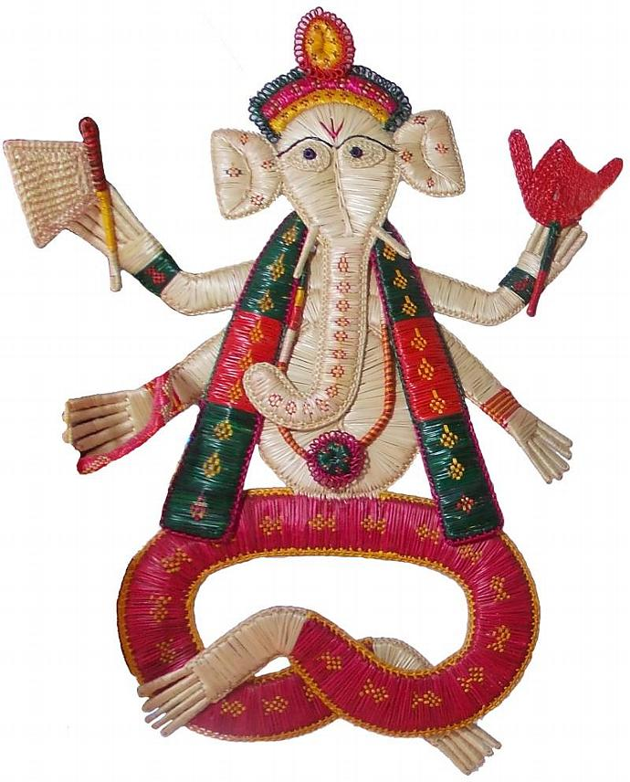 Indian Lord Ganesha made of Sikki grass