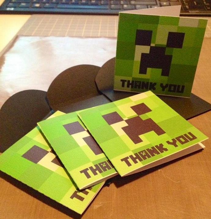 MineCraft Inspired 3x3 Creeper Thank You Cards and | chandic