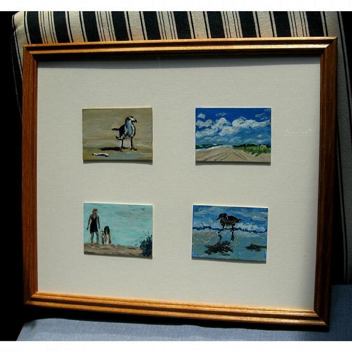 Four Beachy Framed ACEOs