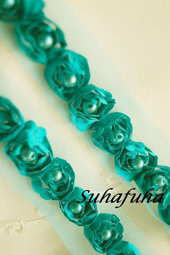Satin Rosette Trim in AQUA with Hand Sewn Matching Pearl Beads-