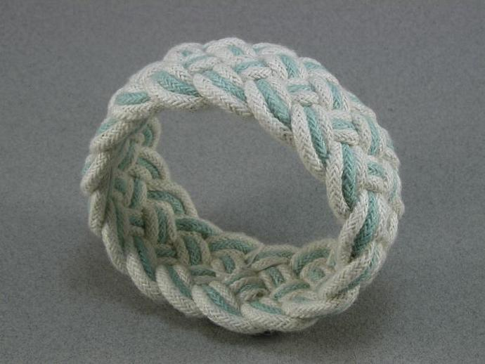 white blue cotton turks head knot sailor bracelet cuff rope jewelry 1055